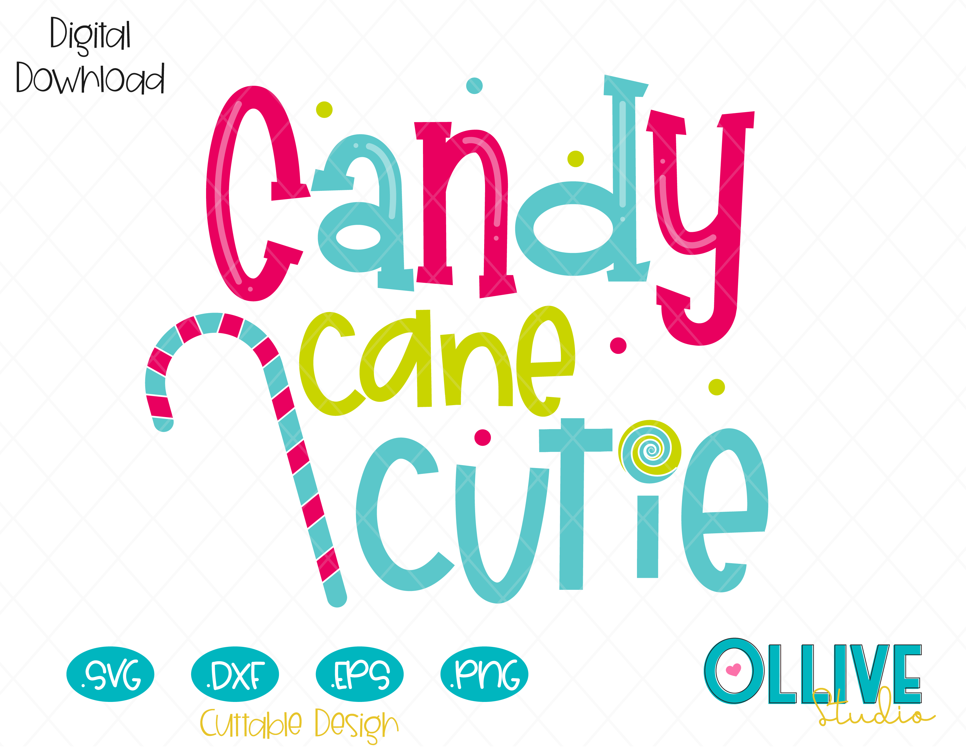 Download Candy Cane Cutie Cutting File in SVG, EPS, DXF and PNG ...